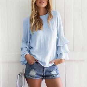 NWOT Baby Blue boho blouse w long ruffle sleeves